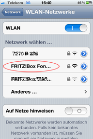 FRITZ!Box-SSID am iPhone wählen