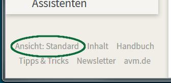 Link für das Umschalten zur Ansicht 'Standard'