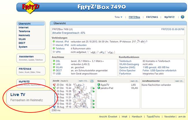 Fernsehen Im Fritz Box Heimnetz Live Tv Fritz Box 7360