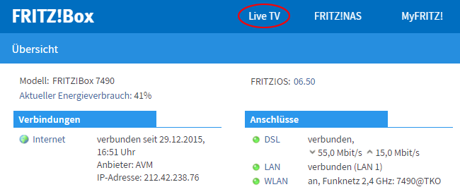 fernsehen im fritz!box-heimnetz (live tv) | fritz!box 7390 | avm