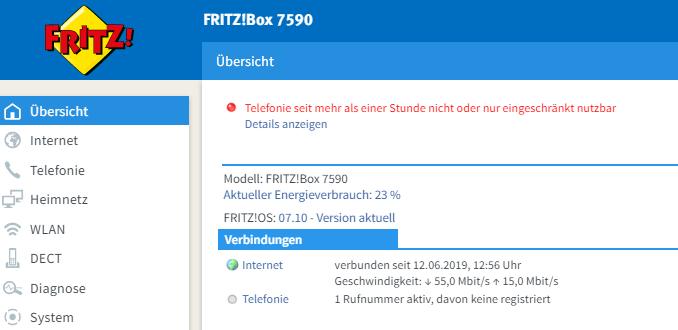 Fritzbox Info Leuchtet