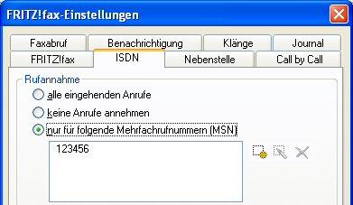 """Rufnummer bei """"nur für folgende Mehrfachrufnummern (MSN)"""" eintragen"""