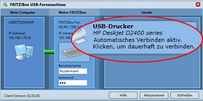 FRITZ!Box USB Fernanschluss: Automatisches Verbinden von USB-Druckern aktiv